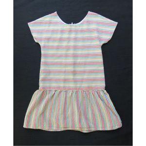 Striped Girls Dress - 80s Vintage Pastel Rainbow